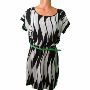 Women's Black & White Dress with Green Belt